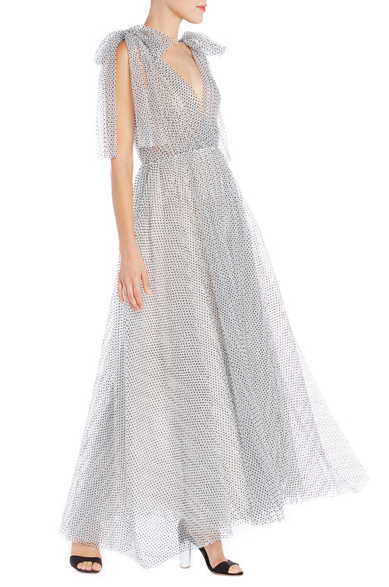 Flocked Dot Tulle V-Neck Gown