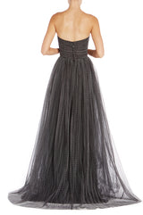 Black sweetheart strapless evening gown