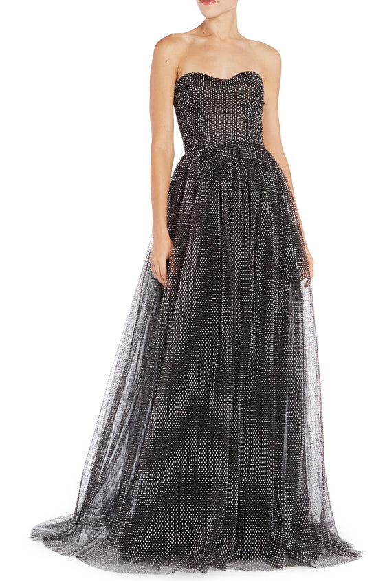Noir strapless tulle gown