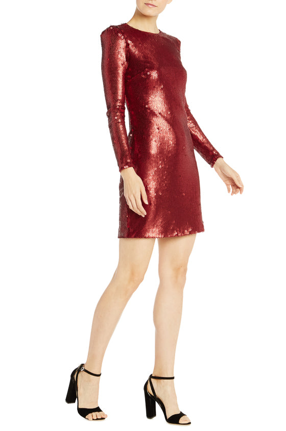 ML Monique Lhuillier Long Sleeve Sequin Cocktail Dress