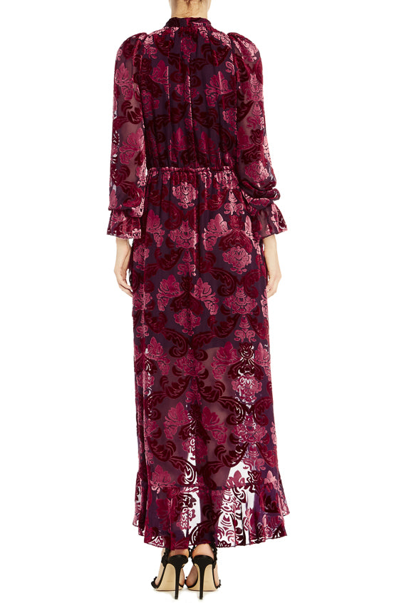 ML Monique Lhuillier Long Sleeve Velvet Dress