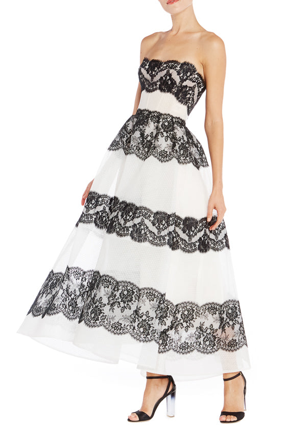 Black and White Tea Length Gown- FINAL SALE