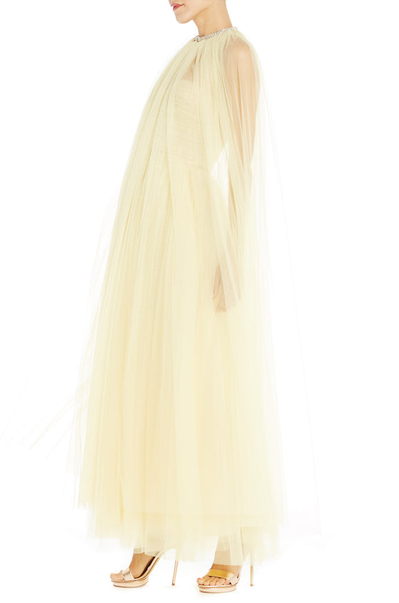 Evening Wear Yellow Cape ML