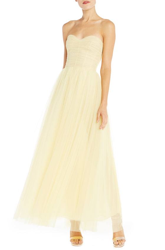 Strapless Tea Length Gown Monique Lhuillier