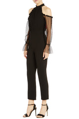ML Monique Lhuillier Cold Shoulder Crepe Jumpsuit