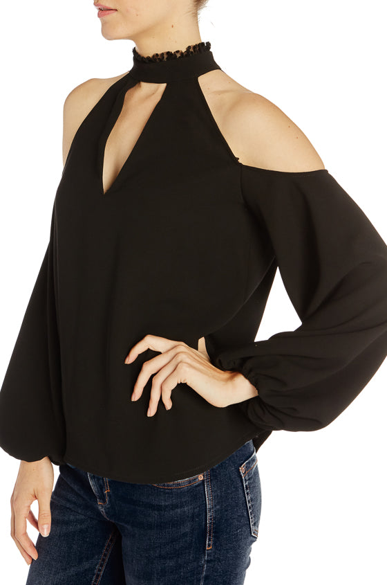 ML Cold Shoulder Crepe Top- FINAL SALE