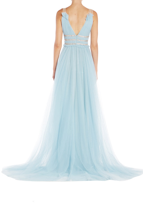 Monique Lhuillier RTW Gown Blue Tulle V Neck