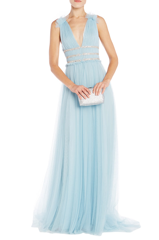 V Neck Tulle Gown Monique Lhuillier