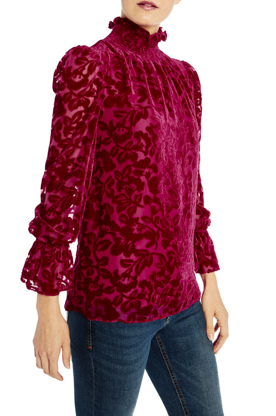ML Monique Lhuillier Long Sleeve Velvet Burnout Top