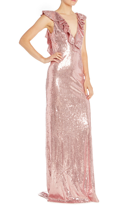 Pink Sequin Monique Lhuillier Gown Ruffles