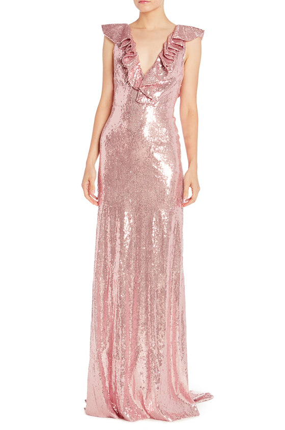 Rose Sequin Spring 2019 Evening Gown ML