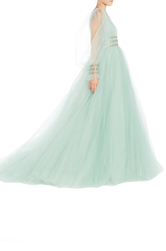 Spring 2019 Green Evening Gown Monique Lhuillier