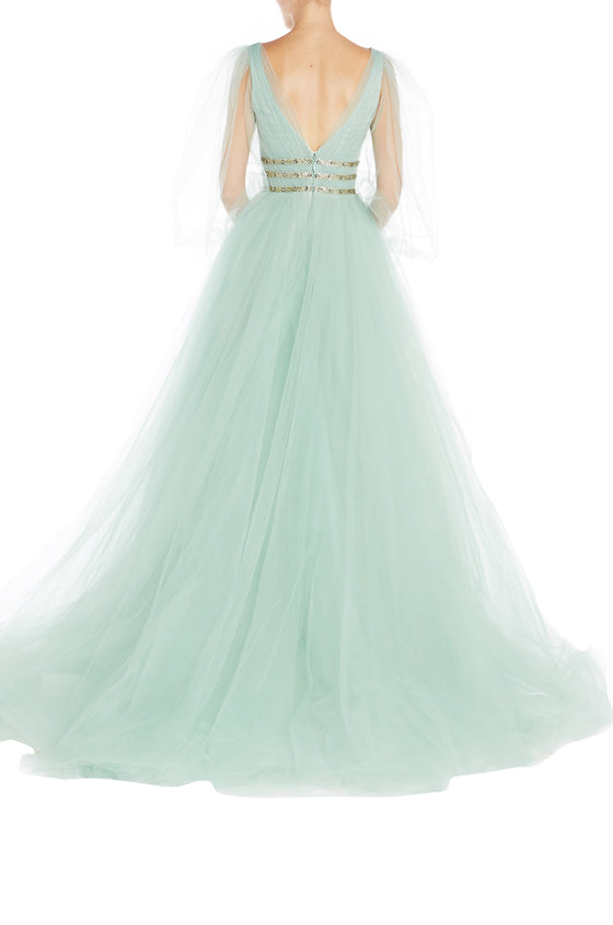 Monique Lhuillier Evening Gown Green Tulle