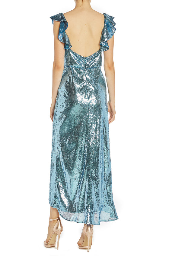 Monique Lhuillier Blue Sequin Dress