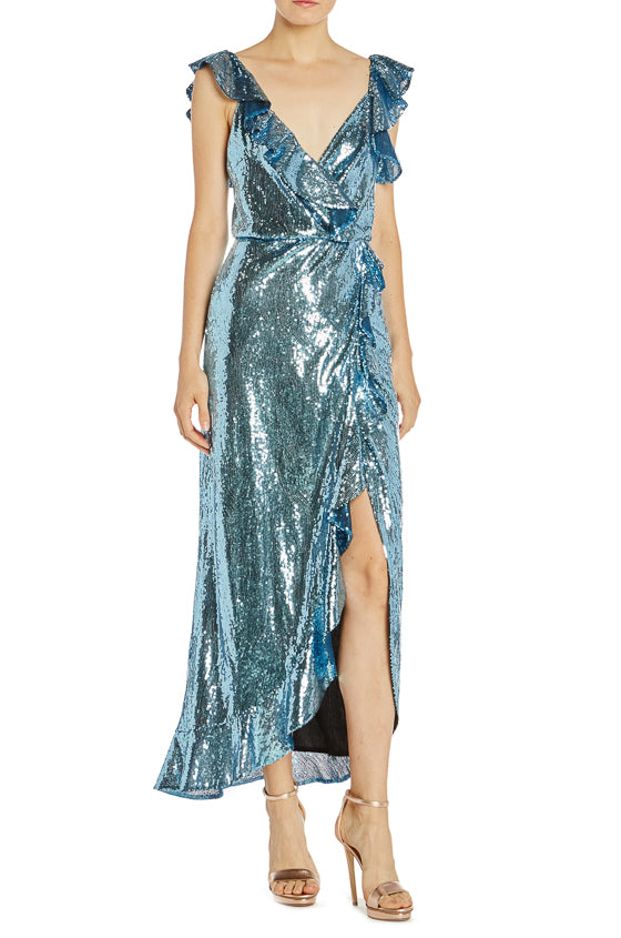 Sequin Wrap Dress Monique Lhuillier