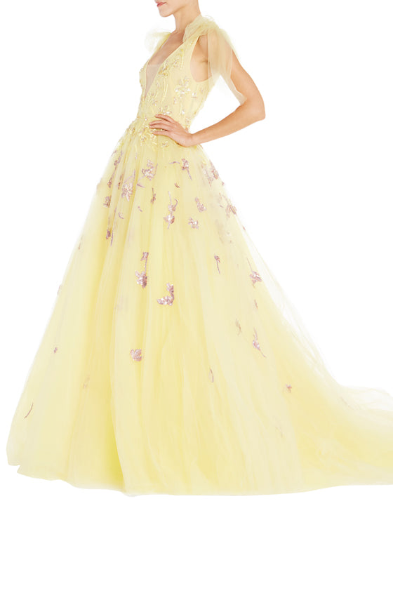 Monique Lhuillier Yellow Ball Gown