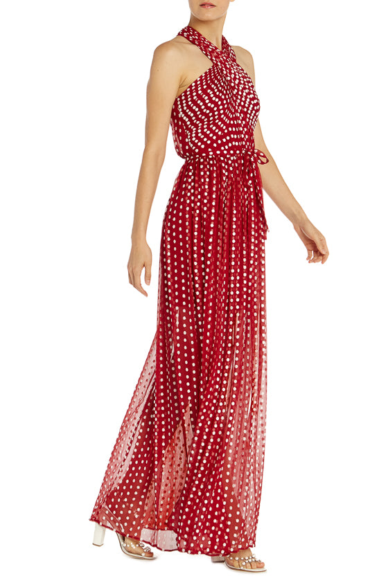 ML Monique Lhuillier Polka Dot Halter Gown