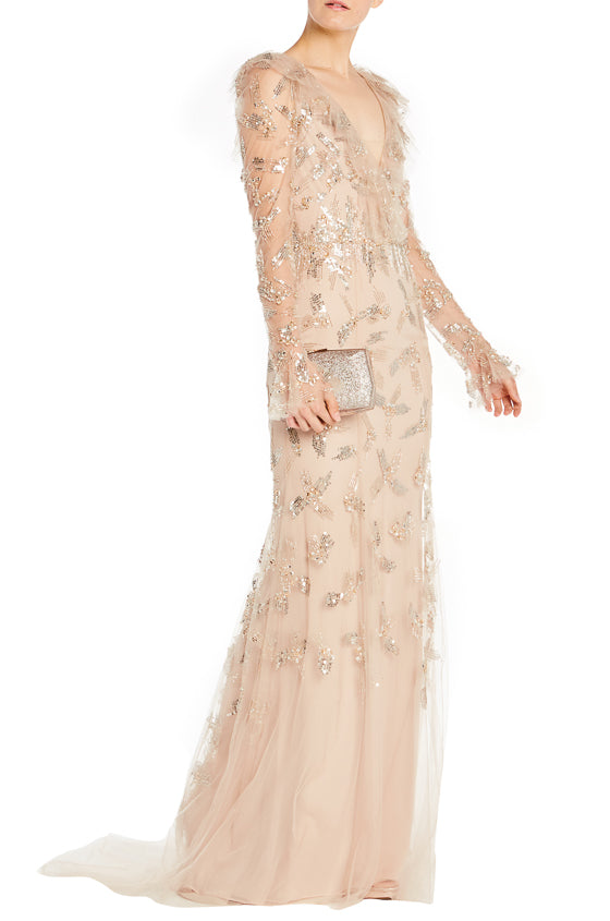 Long sleeve embroidered ML gown