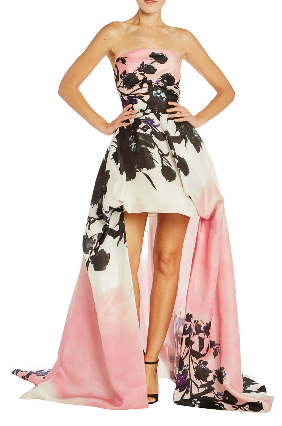 Pink Floral High Low Ball Gown Monique Lhuillier