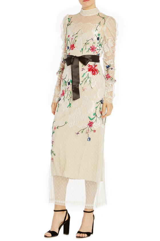 Floral Embroidered Lace Midi Dress- FINAL SALE