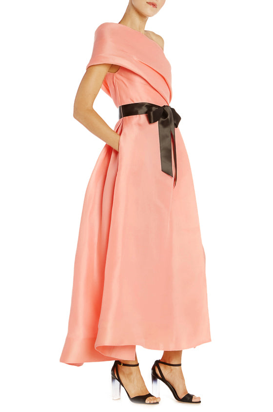One Shoulder Salmon Dress