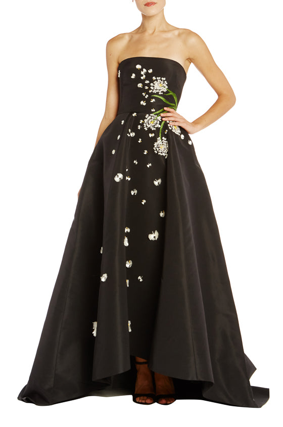 Noir strapless embroidered ball gown Monique Lhuillier
