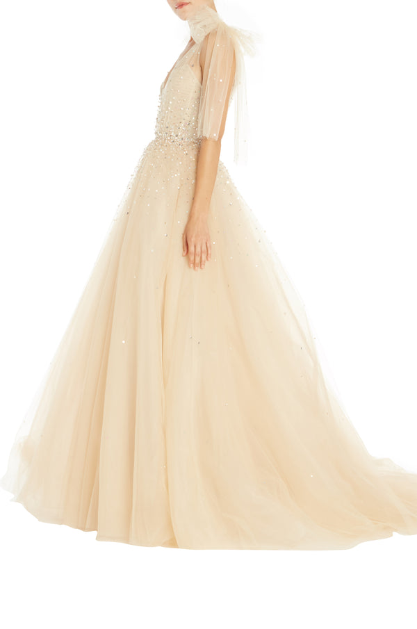 Crystal Beaded Evening Gown Monique Lhuillier