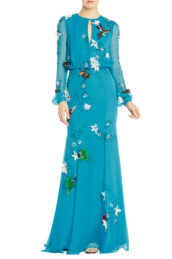 Electric Blue Long Sleeve Gown- FINAL SALE