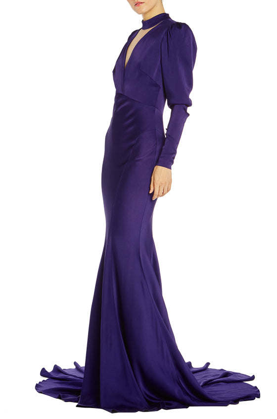 Long Sleeve Purple Evening Gown Monique Lhuillier