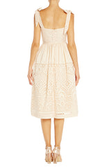 Taffeta Eyelet Sundress Monique Lhuillier Beige