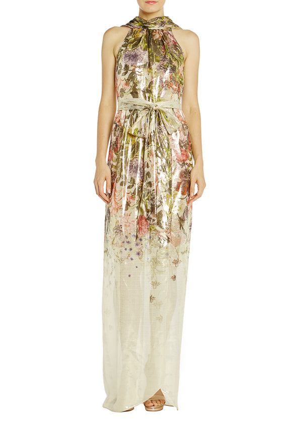 Floral Printed Sleeveless Gown Monique Lhuillier