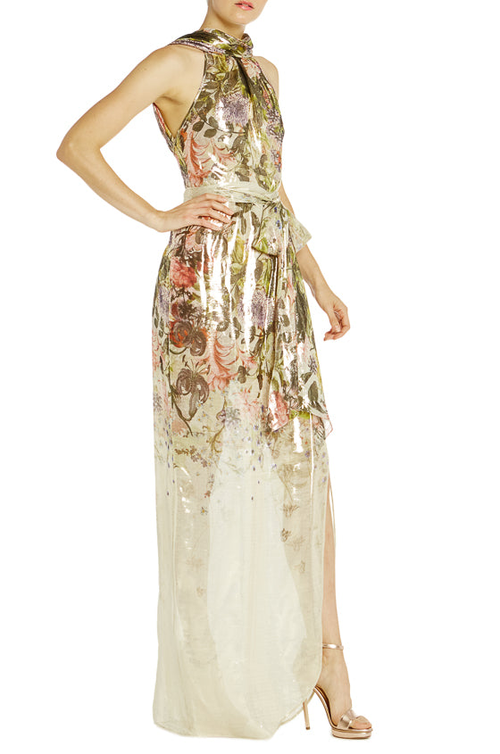 Floral Printed Sleeveless Gown Spring 2019 ML