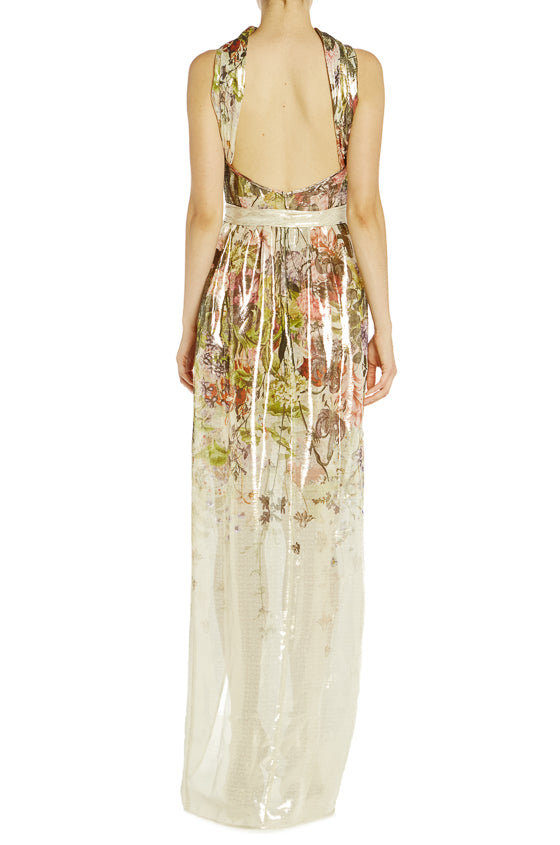 S19 Monique Lhuillier Floral High Neck Gown
