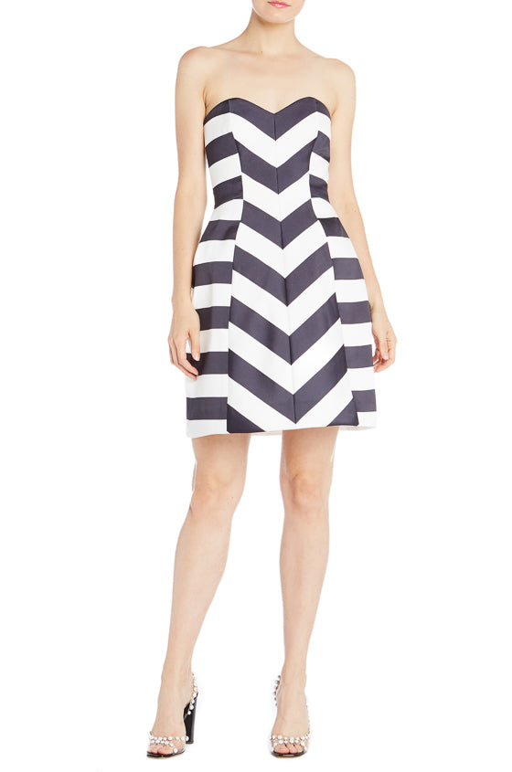 Striped Mikado Cocktail Dress Monique Lhuillier