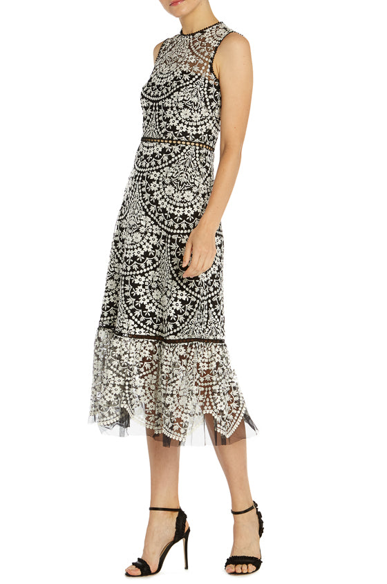 ML Monique Lhuillier Embroidered Cocktail Dress