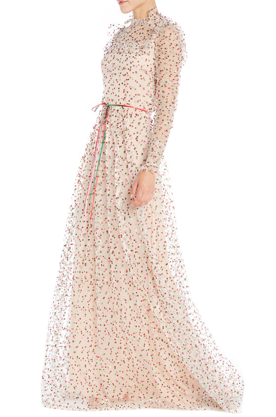 Long Sleeve Glitter Gown- FINAL SALE