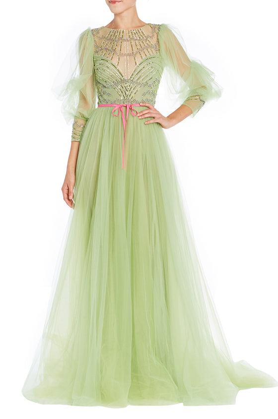 Lime Green Evening Gown Monique Lhuillier