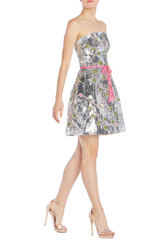 S19 Silver Embroidered Cocktail Dress