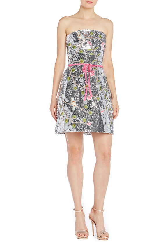 Monique Lhuillier Silver Cocktail Dress