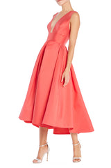 Salmon Tea Length Dress Monique Lhuillier