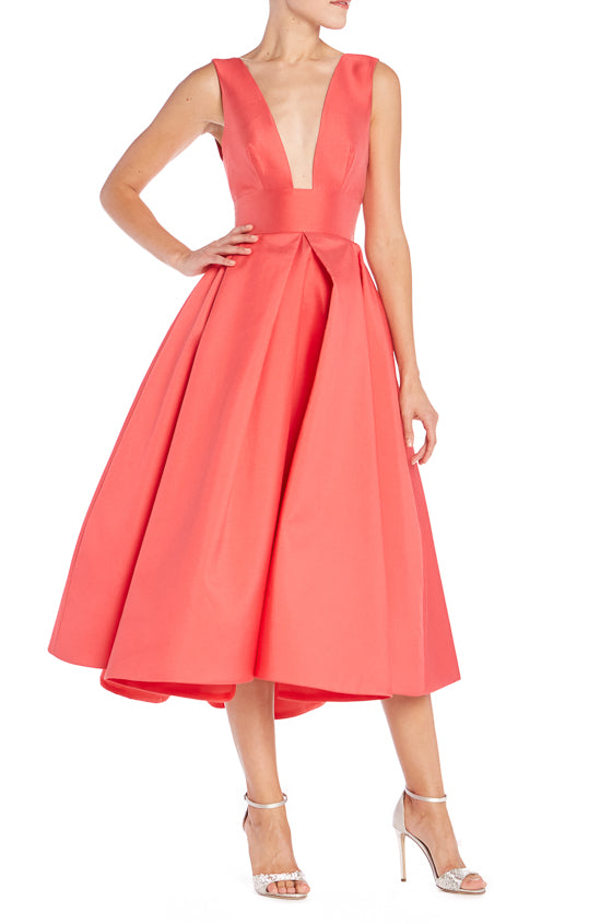 Salmon Pleated Dress Monique Lhuillier