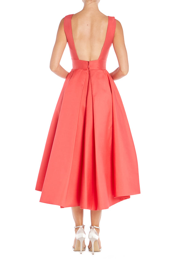 Deep V Neck Pleated Dress