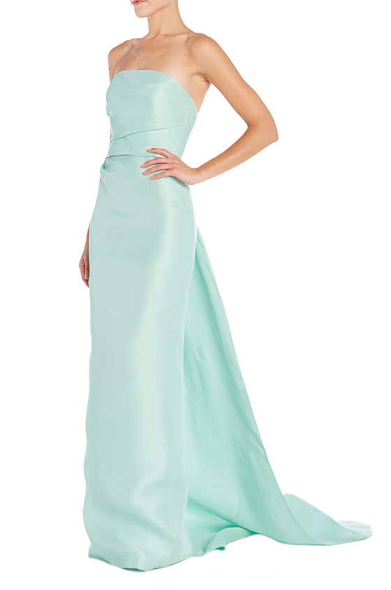Mint Gazar Evening Gown Monique Lhuillier