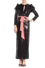 Noir Sequin column gown Monique Lhuillier