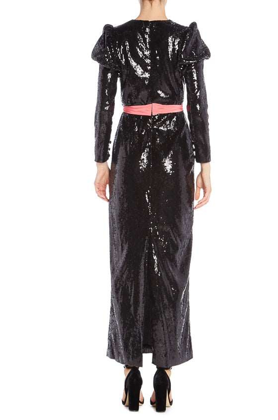 Monique Lhuillier RTW Black Sequin Gown