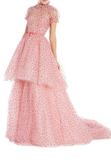 Tiered Rose Pink Tulle Gown