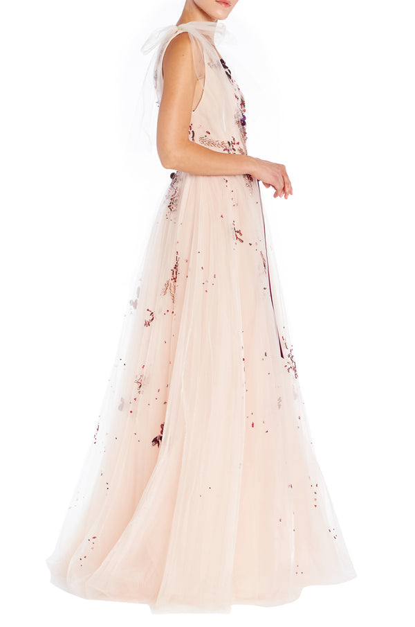 Embroidered Blush Gown
