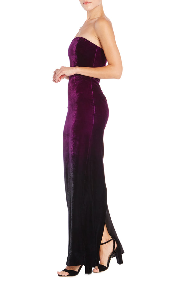 Ombre Velvet Column Gown- FINAL SALE