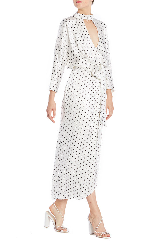 Silk white butterfly printed Satin faux wrap dress