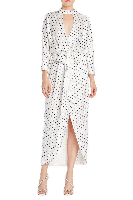 Monique Lhuillier Printed Wrap Dress